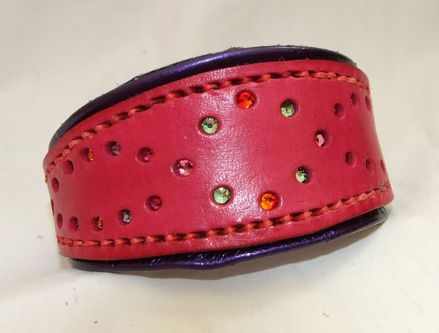 Hand-Made Bridle Leather Crystal Inset Italian Greyhound Collar (Red/Purple)